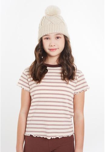 Gen Woo beige Striped Rib-knit T-shirt By Gen Woo 2A40CKA28EC57DGS_1