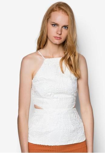 Everett 交叉帶飾鏤空鉤花上衣, 服飾, zalora 衣服評價服飾