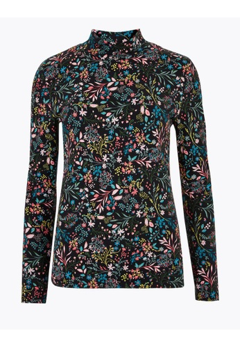 MARKS & SPENCER black M&S Cotton Floral Funnel Neck Fitted Top 817F7AADE51E98GS_1