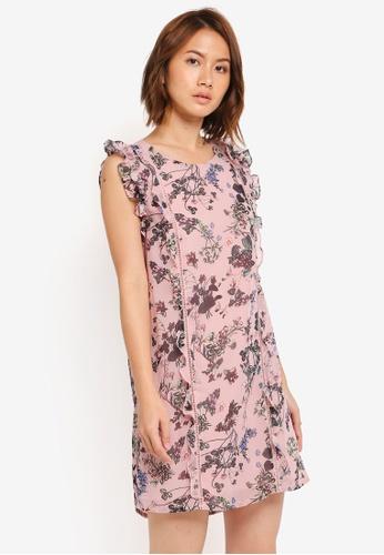 ZALORA pink Ruffle Sleeve Dress 17B14AA738D1B3GS_1