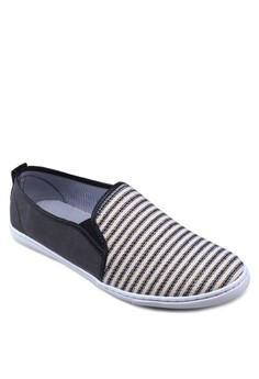 Striped Front Counter Canvas Slip Ons