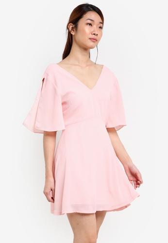 Something Borrowed pink V-Neck Split Sleeve Dress D99B1AAC797DD8GS_1