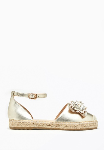 PAZZION gold Floral Crystal Cap Leather Espadrille Sandals 3DE58SHABEF025GS_1