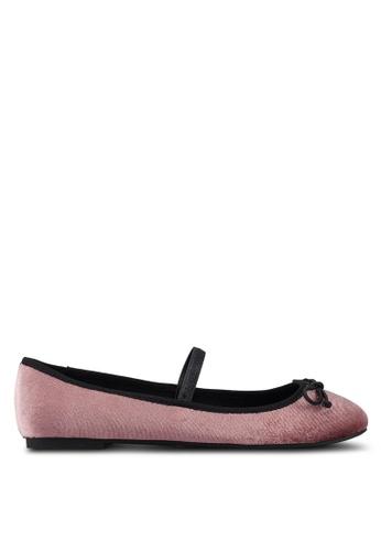 ONLY 粉紅色 絲絨平底鞋 CB5D7SH82A4BC2GS_1