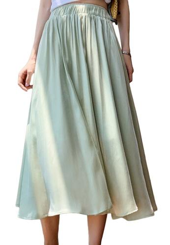 Sunnydaysweety green Spring and Summer Pearlescent Silk High Waist Midi Skirt A21031918GR 55E20AA932CC51GS_1