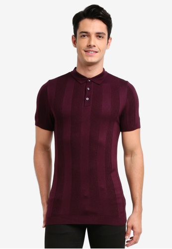 River Island red Rib Polo Shirt FE654AAE6AC77FGS_1