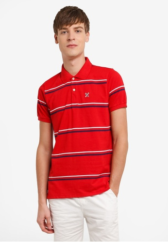 REGATTA red Essential Striped Polo Shirt RE699AA0RUPXMY_1