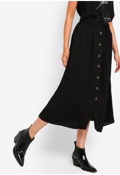 ZALORA black Button Detail Self Tie Skirt 1F5B9AA0964B6EGS 1 78ec09738