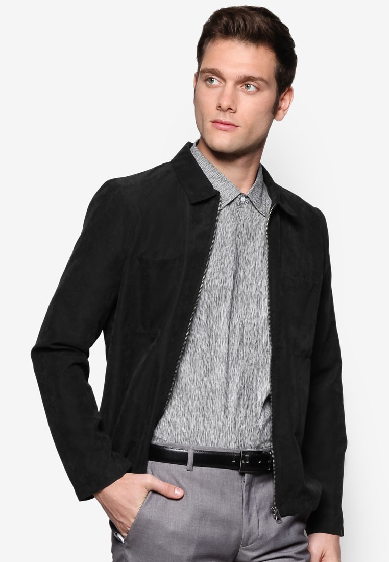 Pointed Collar Suede Bomber Jacket