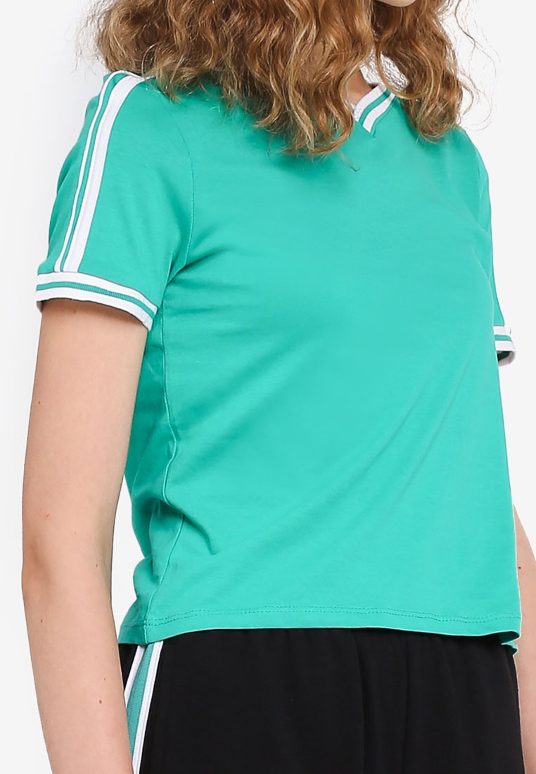 Factorie Short V White Neck With Ringer Sleeve Tipping Emerald Shallow gH1qf