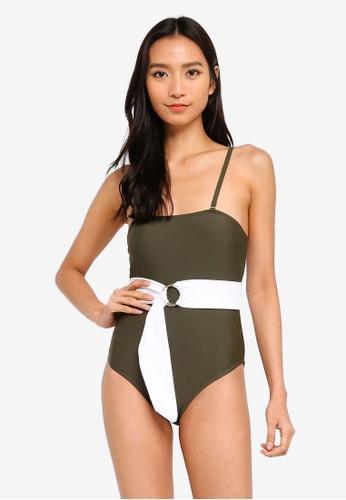 PINK N' PROPER green Zeta Belted Straight Cut Swimsuit 02228USF81D522GS_1