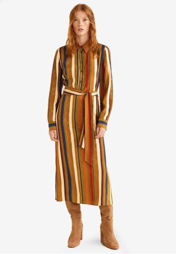 MANGO green and multi Jacquard Shirt Dress FE818AA6F975EFGS_1