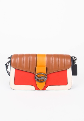 Coach brown Coach Colorblock Georgie 5568 Quilted Shoulder Bag In Bright Poppy Multi 3E81AAC36C5439GS_1