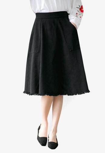Tokichoi black Ruffled Knee Length Skirt 50452AA6292772GS_1