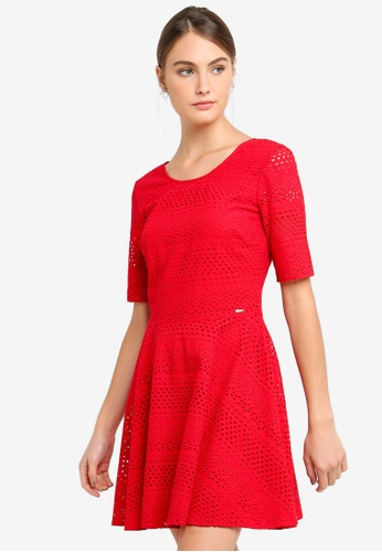 Armani Exchange red Cny Textured Lace Dress CA36DAAB44F15FGS_1