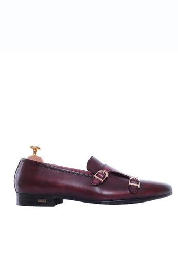 Zeve Shoes red Zeve Shoes Loafer Slipper - Red Burgundy Double Monk Strap (Hand Painted Patina) 1B51BSH3D711FAGS_1