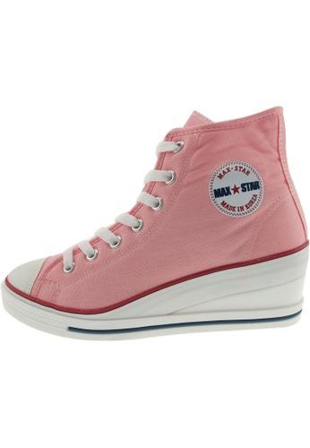 Maxstar Maxstar Women's 7H Zipper Canvas Low Wedge Heel Sneakers US Women Size MA168SH65CHMHK_1