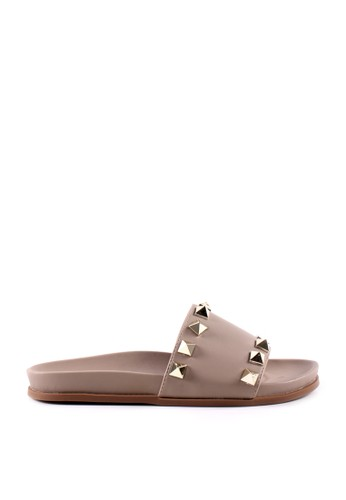 MINKA beige KYLA Khaki Stud Sandal EE109SH95F714BGS_1