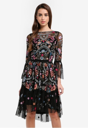 Frock and Frill black Embroidery Embellished Dress FA9CFAA36A4253GS_1
