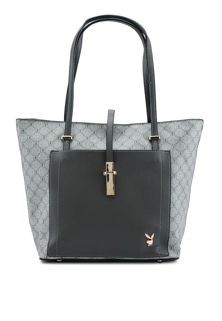 946ab0ff8020 ... Bag Grey in Black Logo PLAYBOY 1 BUNNY Ladies 3 Printed Friday X87nzq7H  ...