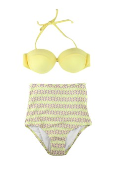Simple Bikini Top And Floral High Waisted Swimwear