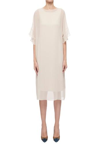 CK CALVIN KLEIN beige Light Drape Jersey Poly Georgette Dress 9BBFFAA8B1AC87GS_1