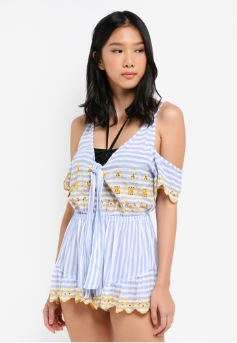 River Island blue Broderie Beach Playsuit C3434AA92A6EEFGS_1