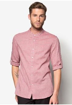 Long Sleeve Mandarin Collar Stripe Shirt