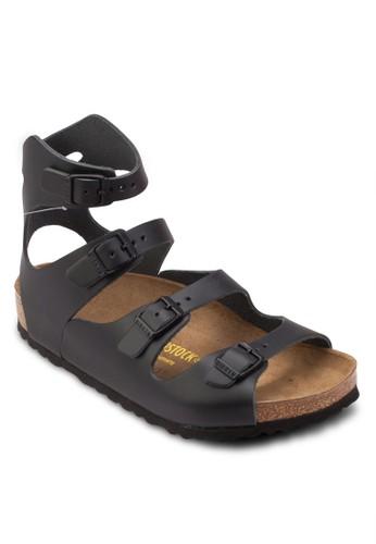 Athen zalora 衣服尺寸天然皮革扣環繞踝涼鞋, 女鞋, 鞋