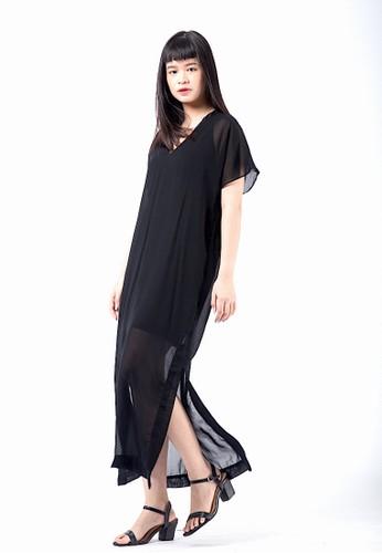 Simplify black Fiori Sheer Dress Black BA22FAA0F9B79AGS_1