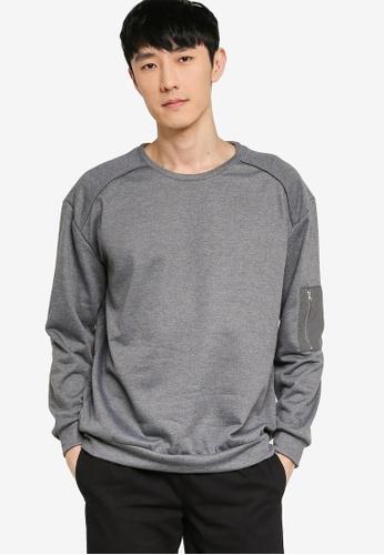 ZALORA BASICS grey Zip Detail Patch Pocket Sweatshirt 09B36AA98A79BAGS_1