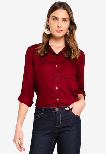 Dorothy Perkins red Burgundy Plain Twill Shirt B85D1AA45DEFD1GS_1