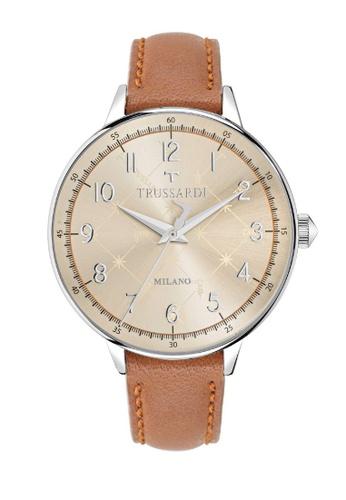 Trussardi brown T-Evolution Quartz Watch R2451120503 Brown Leather Strap D7925AC6C7F7AFGS_1