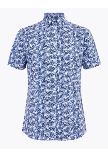 MARKS & SPENCER blue M&S Slim Fit Cotton Floral Shirt F4022AA34FA134GS_1