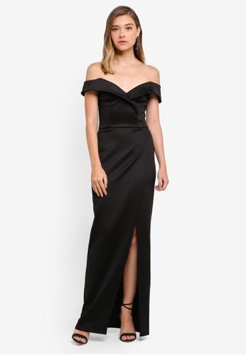 Miss Selfridge black Scuba Bardot Maxi Dress E8F83AA2828E53GS_1