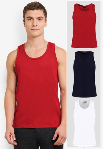 ZALORA white and red and navy 3 PACK COTTON CREW NECK TANK TOP ZA819AA0T27LMY_1