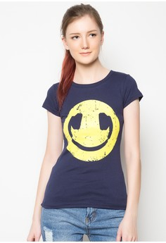 Ladies Smiley Headphones T-Shirt