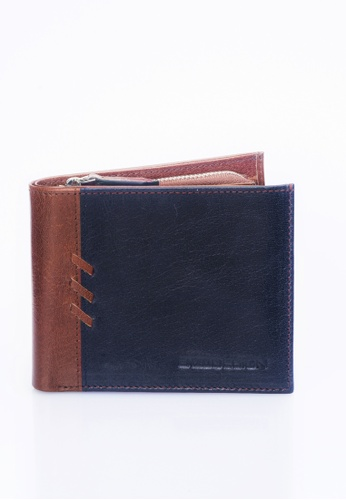 ENZODESIGN brown and navy New Design Buffalo Leather Wallet with Zip Coin Compartment EN115AC38ZUVPH_1