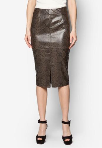 仿蛇紋開衩及zalora時尚購物網評價膝短裙, 服飾, 服飾