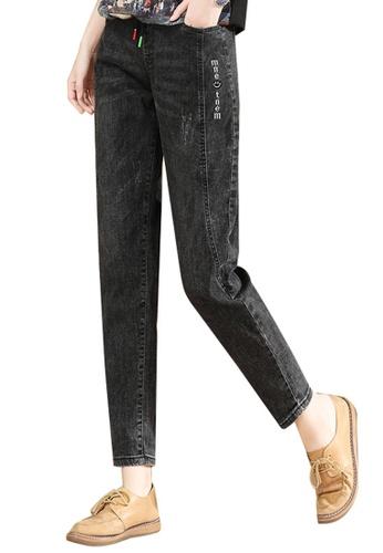 A-IN GIRLS black Elastic Waist Black Jeans F51C9AAEE00697GS_1