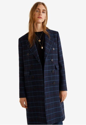 Mango blue and navy Checked Structured Coat 92DD9AA3C60E50GS_1