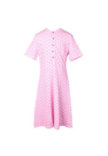 Mini Moley pink Seashell Print Half-Button Down Dress 9B384KA5AF77A0GS_1