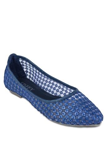 透zalora 泳衣膚網紗尖頭平底鞋, 女鞋, 芭蕾平底鞋