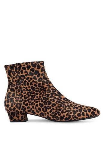 Mango 褐色 豹紋皮革踝靴 97D67SH111B75BGS_1