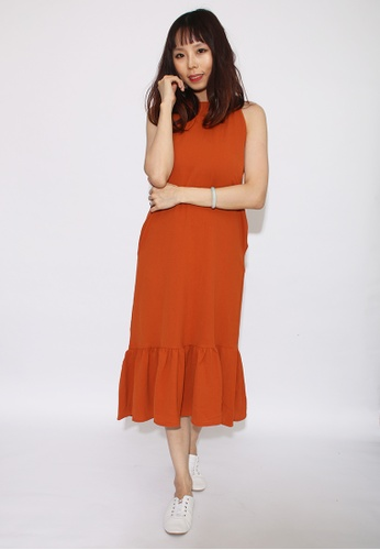 Seoul in Love brown Duon Dress in Brown 02396AA1BCC9C1GS_1
