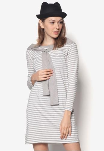 假領巾條zalora taiwan 時尚購物網紋連身裙, 服飾, 夏日洋裝