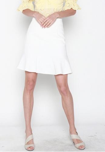 JOVET white Fluted Hem Skirt C23DFAAD712AA7GS_1