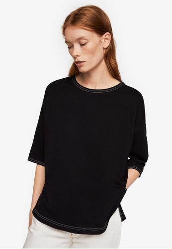 Mango black Contrast Seam T-Shirt 3D2DCAA415CCC7GS_1