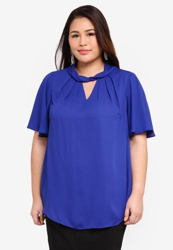 ce746e285a66 Buy Dorothy Perkins Plus Size Cobalt Twist Neck Top Online on ZALORA ...