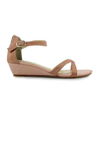 SHINE pink SHINE Ankle Strap Back Zip Wedge Sandales BDDEESHF578491GS_1